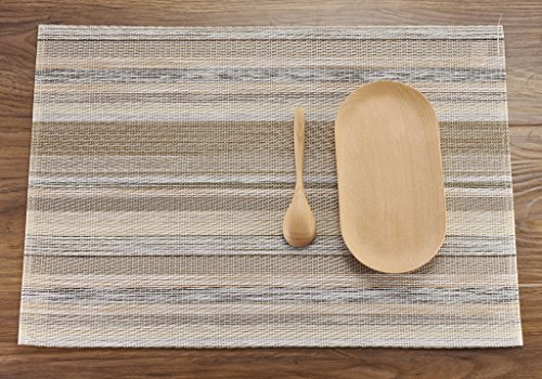HYSENM Lot de 4 Sets de Table Napperon Rectangulaire Rétro Élégant Pvc Plastique Réutilisable à l'épreuve de la Chaleur Salle à Manger beige