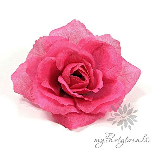 Ansteckrose, Haarrose in pink-telemagenta; Modell 'Französische Rose' (Ø 11 cm; Höhe 5 cm) von myPartytrends. (Ansteckrose, Haarblume mit...