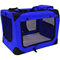 Mool Lightweight Fabric Pet Carrier Crate with Fleece Mat and Food Bag - Extra Large (81 x 58 x 56 cm), Blue