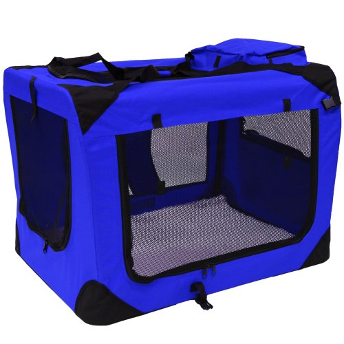 Mool Lightweight Fabric Pet Carrier Crate with Fleece Mat and Food Bag - Large (70 x 52 x 52 cm), Blue