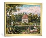 kunst für alle Bild mit Bilder-Rahmen: AKG Anonymous GÖTHE'S GARTENHAUS in Weimar - dekorativer Kunstdruck, hochwertig gerahmt, 70x50 cm, Gold gebürstet