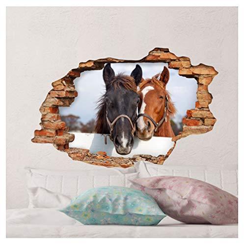 Sticker 3D Effekt   Wandaufkleber Pferd - Tapete Dekoration optische Täuschung Raum und Wohnzimmer   60 x 90 cm