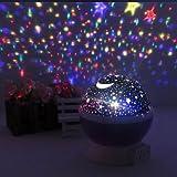 Tsqqst Bunte Led-Stern-Lampe, Stern-Mond-Projektions-Lampe, Stern-Projektor, Himmel-Stern, Drehende Weihnachtsnacht-Lampe, Rosa Projektionslampe