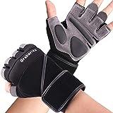 Grebarley Fitness Gloves Levantamiento de Pesas, protección Total de la Palma, Transpirable, Guantes de...