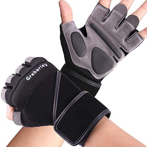 Grebarley Fitness Handschuhe,Trainingshandschuhe,Gewichthebehandschuhe für Krafttraining,Bodybuilding,Sporthandschuhe für Damen und Herren(Schwarz, L)