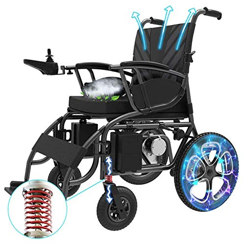 Wheelchair Elektro-Rollstuhl, mit 12Ah-Batterie, Elektrischer Energie oder manuellem Rollstuhl, Ultra-beweglichem Faltbare Strommotorroller Stuhl, für Behinderte, Ältere -