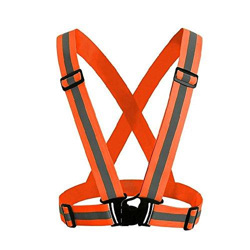 owikar Warnweste Gürtel verstellbar Hohe Sichtbarkeit Reflektierende Gurte fluoreszierend Safety Gear für Night Running Radfahren Hund Park Street Walking umherirren, Orange Royals Shirt Jugend