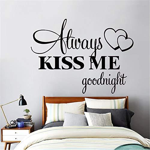 Ajcwhml Adesivo murale Romantico Adesivi murali Amore Citazioni ecologiche per Camera da Letto Sempre Kiss Me Goodnight Decorazione per la casa Decalcomania Blu 42x57cm