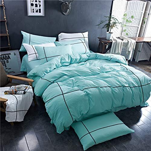 BFMBCH Vier Jahreszeiten, superweiche, Schlichte, Elegante, Gewaschene Baumwollbettwäsche, Vier Sätze einfarbige Bettwäsche, grün, 220 cm * 240 cm