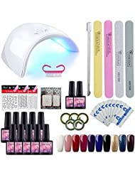 Kit Vernis Semi Permanent Saint-Acior Lampe LED 36W Manucure Soak Off Gel Polish Gel UV LED Vernis à Ongle Topcoat Basecoat Nail Art Pour Ongle 8 Pots 8ml Débutant Kit
