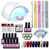 Kit Vernis Semi Permanent Saint-Acior Lampe LED 36W Manucure Soak Off Gel Polish Gel UV LED Vernis...