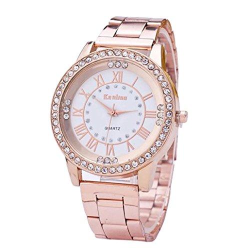 Sonnena Unisex Armbanduhren, Damenuhr Herrenuhr Damen Kristall Strass Dekoration Armbanduhren Mode Metallband Analoge Quarz Handgelenk Uhr (Rose)