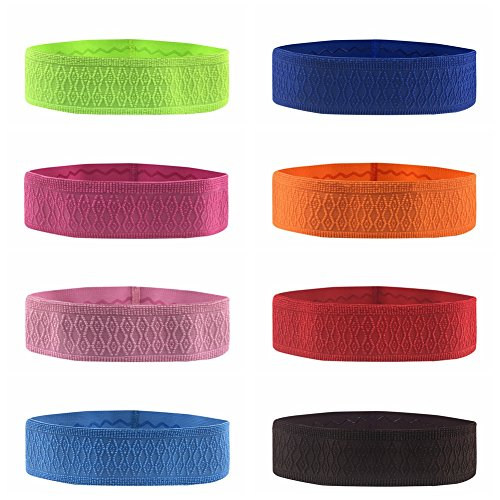 Doubleer Sports Sweatbands for Women Men Fitness Workout Headbands Absorbent Soft Stretchy Hairband