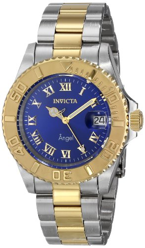Invicta Women's 40mm Two Tone Steel Bracelet & Case Swiss Quartz Blue Dial Analog Watch 14363