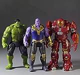 #9: 3 Pcs Avengers Infinity War Toy Set Hulk, Thanos, Iron Man Hulk Buster Action Figure with LED Light On Chest