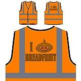 Ich liebe Brot frisches Obst Gemüse Personalisierte High Visibility Orange Sicherheitsjacke Weste a335vo