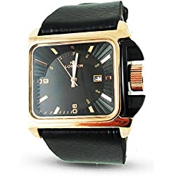 Branded Fashion Ladies Watch / Womens Watch at Discounted Sale Price - NY London Leather Band Black & Rose Gold Wrist Watch