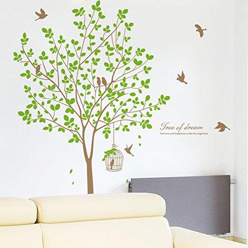 Spring Birds Big Tree Wall Art Stickers per Camera da letto Soggiorno TV Divano Sfondo Home Decor rimovibile decalcomanie
