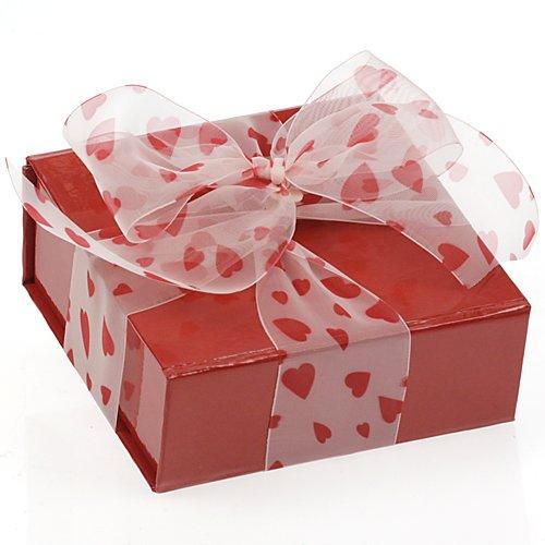 ceco, colore: Rosso lucido Valentine pieghevole/riutilizzabile confezione regalo (10CMX10CMX4CM) con 2,7m di nastro di stampa bianco - Confezione Regalo Riutilizzabile