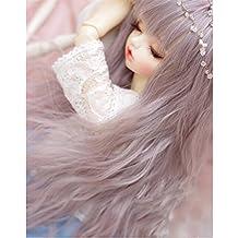 Tita-Doremi Peluca BJD SD MSD Minifee MDD DZ DOD LUTS Dollfie Grey Mix Pink Wig Hair 1/4 7-8 inch 18-19cm (Peluca solamente, no una muñeca )