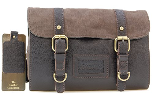Ashwood Hanging Wash / Shaving Bag - Leather & Canvas - Brown