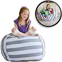 EXTRA GROẞER Sitzsack - Stausack/Bean Bag für Stofftiere mit Abdeckung von Smith - Räumen Sie Räume auf und lassen Sie diese Kreaturen für sich arbeiten! (40 Zoll, weiß und grau gestreift) preisvergleich bei kinderzimmerdekopreise.eu