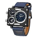 3 Time Watch, Men ' s 3 Dial Steampunk Lokomotive Pilot Nautical Military Enthusiast ' s Quarz Watch,Blue