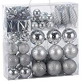 BAKAJI Addobbi per Albero di Natale 103 Pezzi Confezione Palline Cuori Stelle Coni Decorazioni Natalizie (Silver)