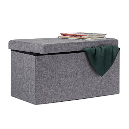Relaxdays Faltbare Sitzbank XL mit Stauraum, Sitzcube Fußablage, Sitzwürfel als Aufbewahrungsbox, 38x76x38cm, dunkelgrau
