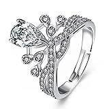 Good dress-ring Weibliche Romantische Hochzeit Zirkon Kupfer Drop Double Ring Ehering Elegante Wassertropfen Ring, Platin und Weiß, einstellbar