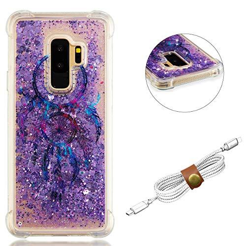 QY Mart Purpurina Funda Compatible Samsung Galaxy S9 Plus Brillante Arena Movediza Líquido Transparente Gel TPU Bumper Suave Silicona Carcasa con Auriculares Organizador - Atrapasueños