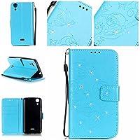 Guran® Funda de cuero PU para Wiko Rainbow Lite Smartphone Función de Soporte con Ranura para Tarjetas Flip Case Cover de Mariposa con Cristal Artificial Brillante - azul