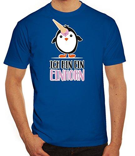 Pinguine Tierfreund Unicorn Herren T-Shirt mit Pinguin - Ich bin ein Einhorn Motiv von ShirtStreet Royal Blau