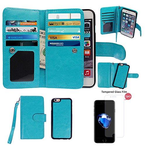 """xhorizon TM FM8 Cuir Premium Folio étui [ la fonction de portefeuille] [magnétique détachable] Sac à main bracelet souple Carte Multiple couvrefente pour iPhone 7(4.7"""") bleu+Film acier"""