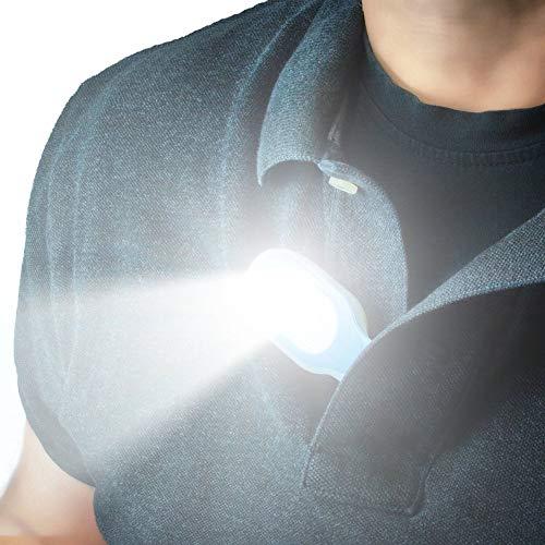 Bostar Linterna Manos Libres Linterna Portátil con Clip y Luces LED Se engancha a Superficies magnéticas de Prendas de Vestir.Luces de Seguridad, para Senderismo,pasear al Perro,Caminar Correr.Rojo