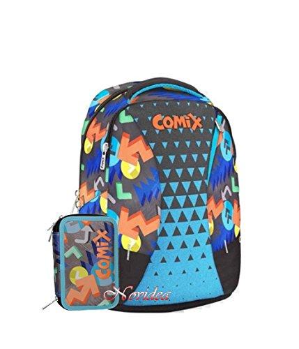 Schoolpack zaino scuola comix organizzato special limited blu + astuccio 3 zip