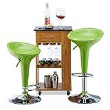 Relaxdays Barhocker 2er Set, höhenverstellbar, drehbar, bis 120 kg, mit Lehne, Barstuhl, HxBxT: 88 x 44 x 40 cm, grün