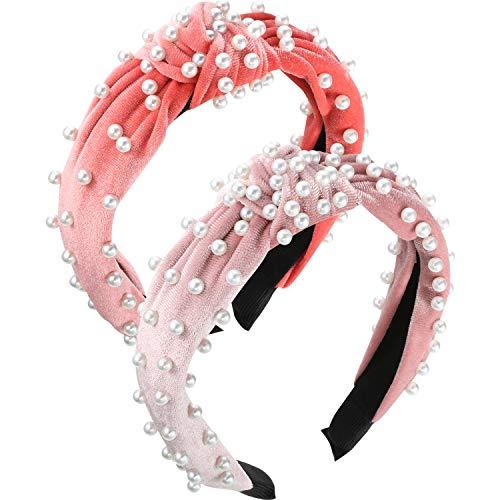 WILLBOND 2 Stück Perlen Stirnband Breite Haarband Samt Vintage Verdrehte Kopfbedeckung für Mädchen Damen Haarschmuck (Korallen Rot, Rosa)