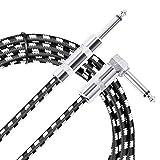 Neewer 3 mètres Câble de Guitare Basse Électrique Haut de Gamme Cordon de Instrument Musique avec Jack Droit à 1/4-inch Coudé pour Guitare Basse Pédale d'Effet Instrument