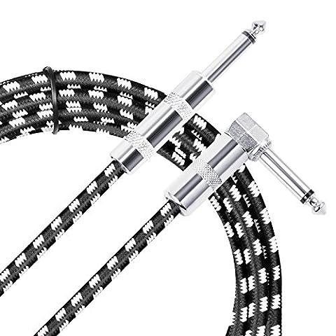 Neewer 3 mètres Câble de Guitare Basse Électrique Haut de Gamme Cordon de Instrument Musique avec Jack Droit à 1/4-inch Coudé pour Guitare Basse Pédale d
