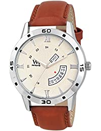 Watch Me Day Date Collection White Dial Brown Leather Strap Watch For Men And Boys DDWM-048 DDWM-048rto5