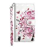 iPhone XR - Etui Ledertasche Blühender Baum Glitzer Effekt rosa