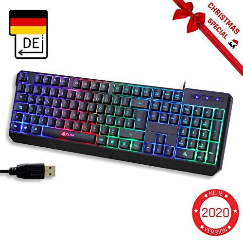 KLIM Chroma Gaming Tastatur QWERTZ DEUTSCH mit Kabel USB + Langlebig, Ergonomisch, Wasserdicht, Leise Tasten + RGB Gamer Tastatur für PC Mac Xbox One X PS4 Tastatur + NEUE 2019 Version + Schwarz