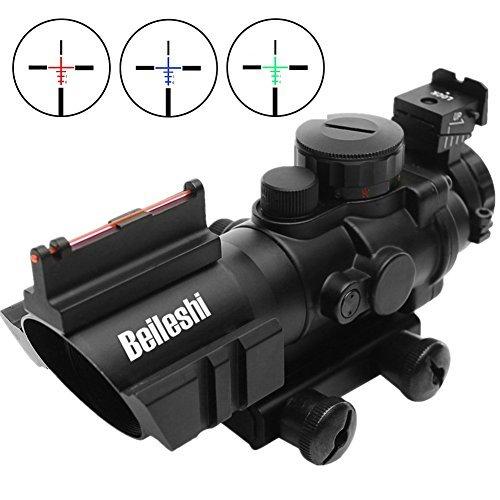 Beileshi Zielfernrohr 4x32mm Leuchtpunktvisier mit Fiberoptic Red Green Dot Visier Zielgerät (Visier Acog)