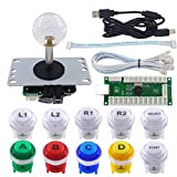 SJ@JX Arcade Game LED DIY Kit Mechanical Keyboard Switch LED Button PC MAME Retropie Arcade Joystick Controller Zero Delay USB Encoder (Mix)