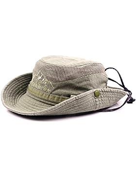 Gorra de pescador veraniega de algodón bordado para hombre visera sombrero de malla tapasol para al aire libre...