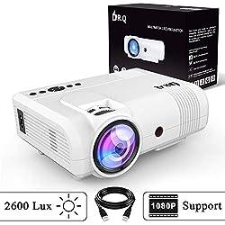 DR.Q 2600 Lux Proyector, mini Proyector, 50000 Horas, Proyector de Vídeo compatible con 1080P, Conexión con dispositivo de TV Stick HDMI VGA USB, con HDMI y Cable AV, Blanco.
