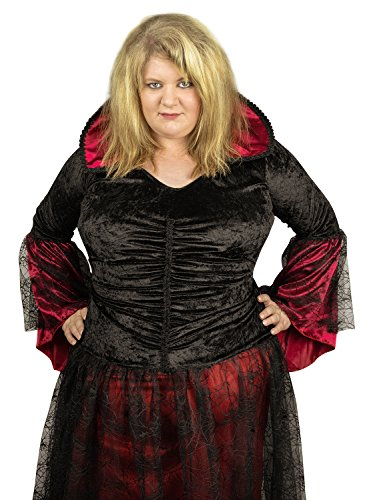 Faschingskostüm große Größen schwarz/rot (Kleidergröße 56- 58 (10XL-12XL)): Damen Vampir Gothic Kleid in Übergröße – das perfekte Karnevals (Vampir Plus Size Kostüme)