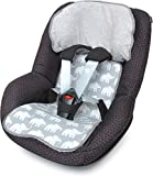 PRIEBES FELIX Sitzauflage für Autokindersitz Gruppe 1 | Universal Sitzeinlage für Kindersitze | Schonbezug 100% Baumwolle | einfache Befestigung | beidseitig verwendbar, Design:elefanten grau