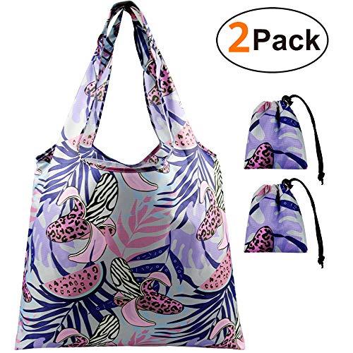 Faltbare Einkaufstasche im Beutel Shopping Bag 2 Stück, mit Mini Drawstring Beutel, Shopper Tasche für Frauen, Leicht & Stabil Einkaufstüten Wiederverwendbar, Reißfest Wasserdicht Einkaufsbeutel -